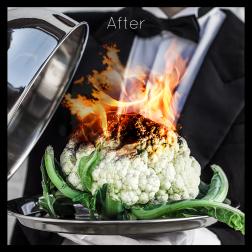 Albumhoes voor de band Bloomcoal. Bloemkool op een dienblad die vast wordt gehouden door een butler. De bloemkool staat in brand, bewerkte foto. Commerciele fotografie.