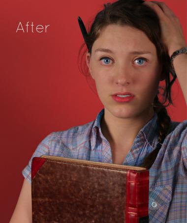 Mock-cover voor het tijdschift LINDA. Model heeft een boek vast, hand in het haar en een pen achter haar oor. Bewerkte foto. Commerciele fotografie.