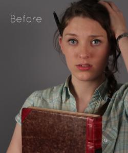 Mock-cover voor het tijdschift LINDA. Model heeft een boek vast, hand in het haar en een pen achter haar oor. Onbewerkte foto. Commerciele fotografie.
